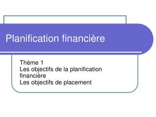 Planification financi�re