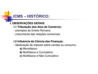 ICMS – HISTÓRICO: