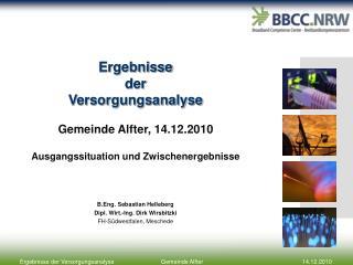 Ergebnisse der  Versorgungsanalyse Gemeinde  Alfter , 14.12.2010