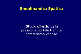 Emodinamica Epatica