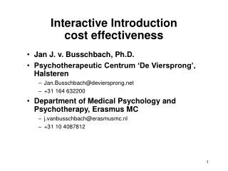 Interactive Introduction  cost effectiveness