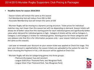 2014/2015 Munster Rugby Supporters Club Pricing & Packages
