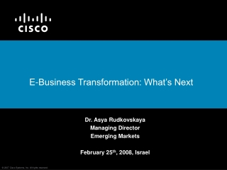 From IT to Business Transformation The Evolution of  e