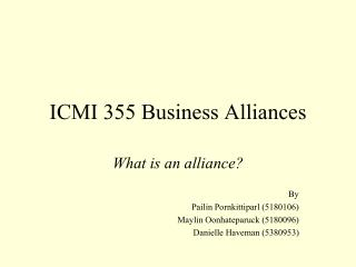 ICMI 355 Business Alliances