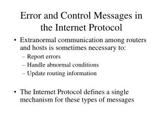 Error and Control Messages in the Internet Protocol