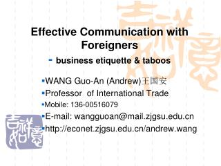Effective Communication with Foreigners -  business etiquette & taboos