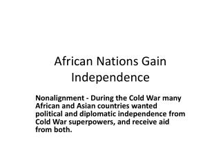 African Nations Gain Independence