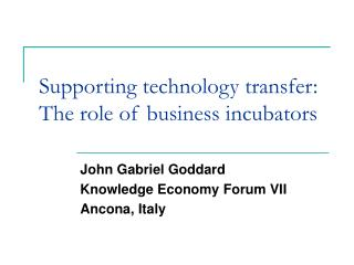 Supporting technology transfer: The role of business incubators