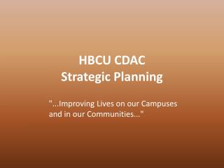 HBCU CDAC Strategic Planning