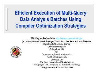 Efficient Execution of Multi-Query Data Analysis Batches Using Compiler Optimization Strategies