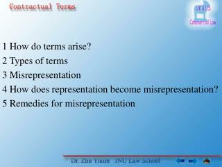 1 How do terms arise 2 Types of terms 3 Misrepresentation 4 How does representation become misrepresentation 5 Remedies