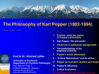 The Philosophy of Karl Popper (1902-1994) FFDI  Zagreb, 31 March – 4 April 2014