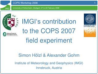 COPS Workshop 2008