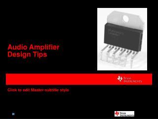 Audio Amplifier Design Tips