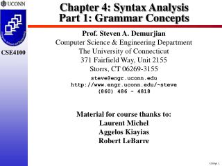 Chapter 4: Syntax Analysis Part 1: Grammar Concepts