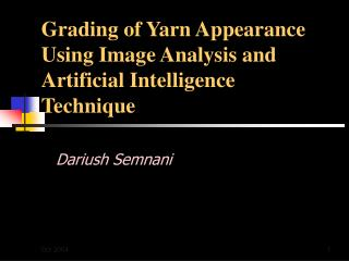 Grading of Yarn Appearance Using Image Analysis and Artificial Intelligence Technique