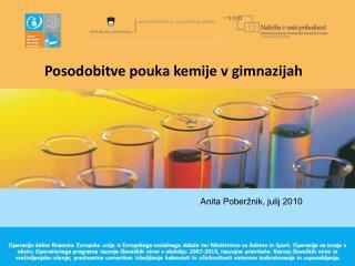 Posodobitve pouka kemije v gimnazijah