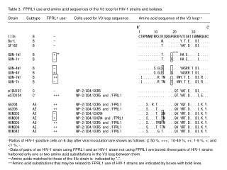 Table 3.  FPRL1 use and amino acid sequences of the V3 loop for HIV-1 strains and isolates.