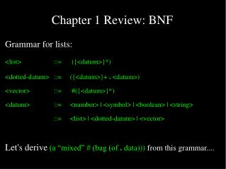 Chapter 1 Review: BNF