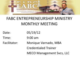 FABC ENTREPRENEURSHIP MINISTRY MONTHLY MEETING