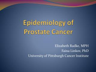 Epidemiology of Prostate Cancer