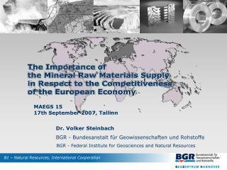 Dr. Volker Steinbach BGR - Bundesanstalt für Geowissenschaften und Rohstoffe