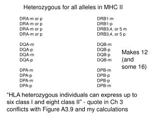 Heterozygous for all alleles in MHC II
