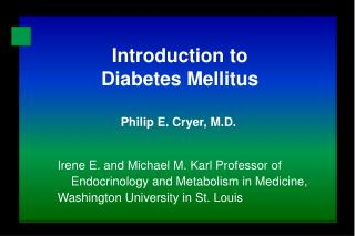 Introduction to  Diabetes Mellitus