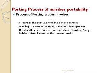 Porting Process of number portability
