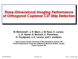 Three-Dimensional Imaging Performance  of Orthogonal Coplanar CZT Strip Detectors
