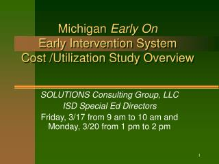 Michigan Early On Early Intervention System Cost