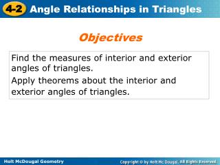 Find the measures of interior and exterior angles of triangles.
