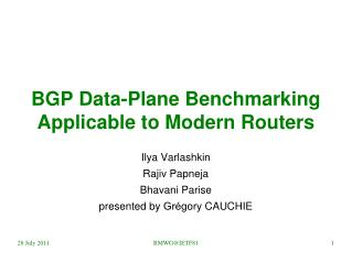 BGP Data-Plane Benchmarking Applicable to Modern Routers