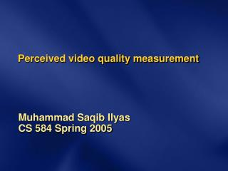 Perceived video quality measurement