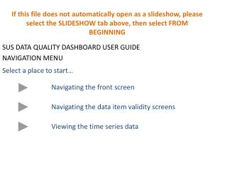 SUS DATA QUALITY DASHBOARD USER GUIDE