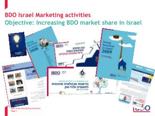 BDO Israel Marketing activities Objective: Increasing BDO market share in Israel