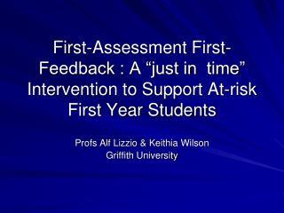 Profs Alf  Lizzio  &  Keithia  Wilson Griffith University