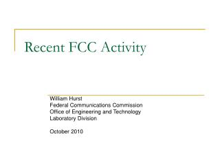 Recent FCC Activity