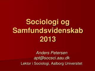 Sociologi og Samfundsvidenskab 2013