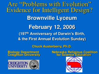 "Are ""Problems with Evolution"" Evidence for Intelligent Design?"