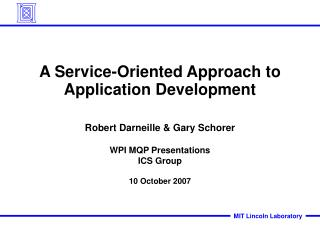 A Service-Oriented Approach to Application Development
