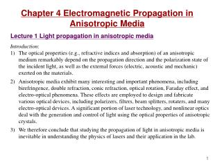 Chapter 4 Electromagnetic Propagation in Anisotropic Media