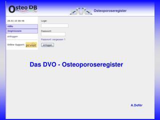 Das DVO - Osteoporoseregister