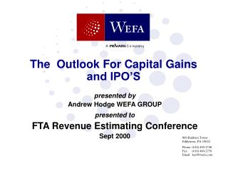 The  Outlook For Capital Gains and IPO'S