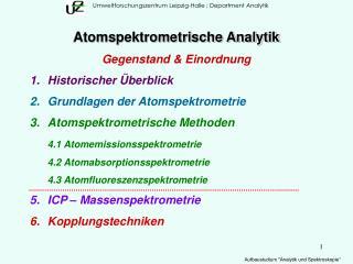 Umweltforschungszentrum Leipzig-Halle ; Department Analytik