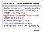 Status: Unit 4 - Circular Motion and Gravity