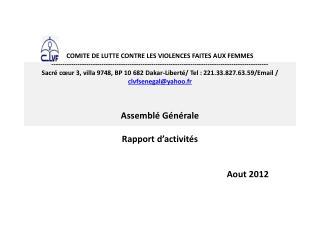 Assemblé Générale Rapport d'activités Aout 2012