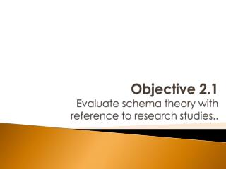 Objective 2.1 Evaluate schema theory with reference to research studies..