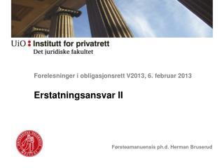 Forelesninger i obligasjonsrett V2013, 6.  februar 2013