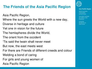The Friends of the Asia Pacific Region